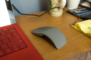 Arc Touch Mouse. When in use, it curves to accommodate the hand comfortably.